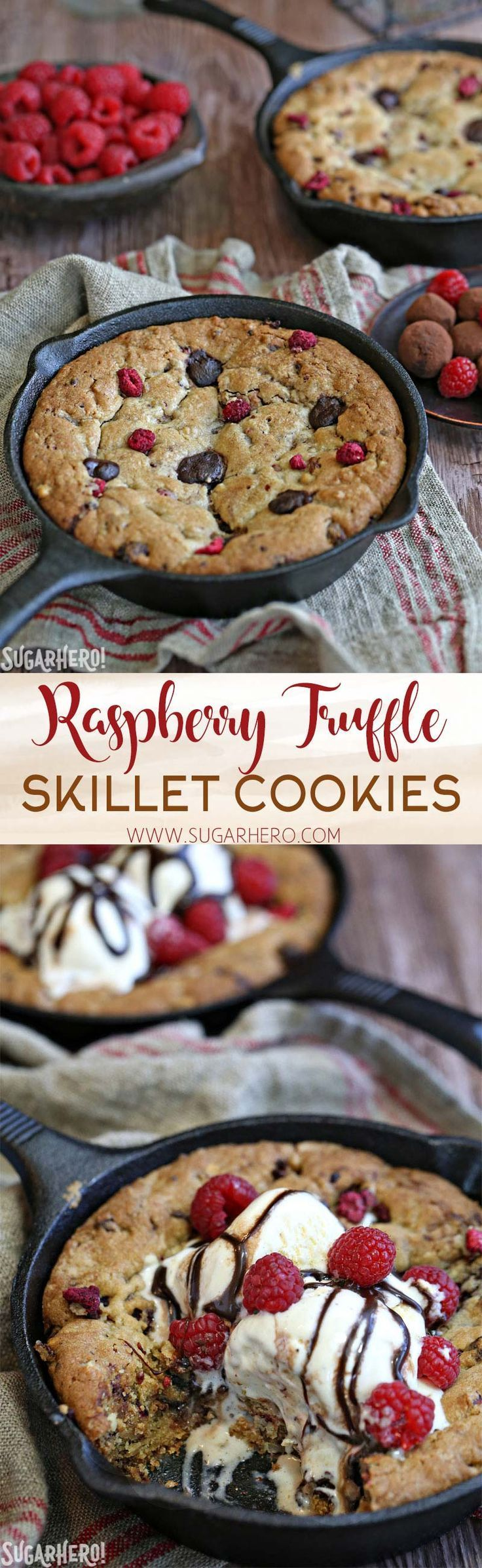 Raspberry Truffle Skillet Cookies - packed with gooey chocolate truffles, raspberries, and nuts! | From http://SugarHero.com