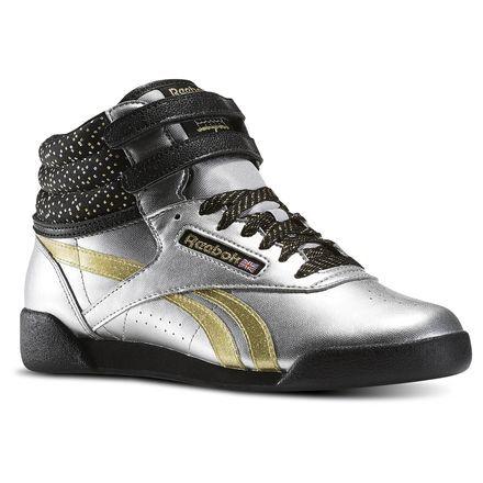 ca814bf256a7 Reebok Freestyle Hi Birthday - Grade School Kids Fitness Shoes in Silver  Metallic   Gold Metallic   Black