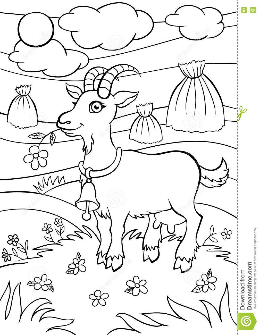 Coloring Pages Animals Little Cute Goat Stock Illustration Image 71205005 Coloring Pages Disney Coloring Pages Cute Goats
