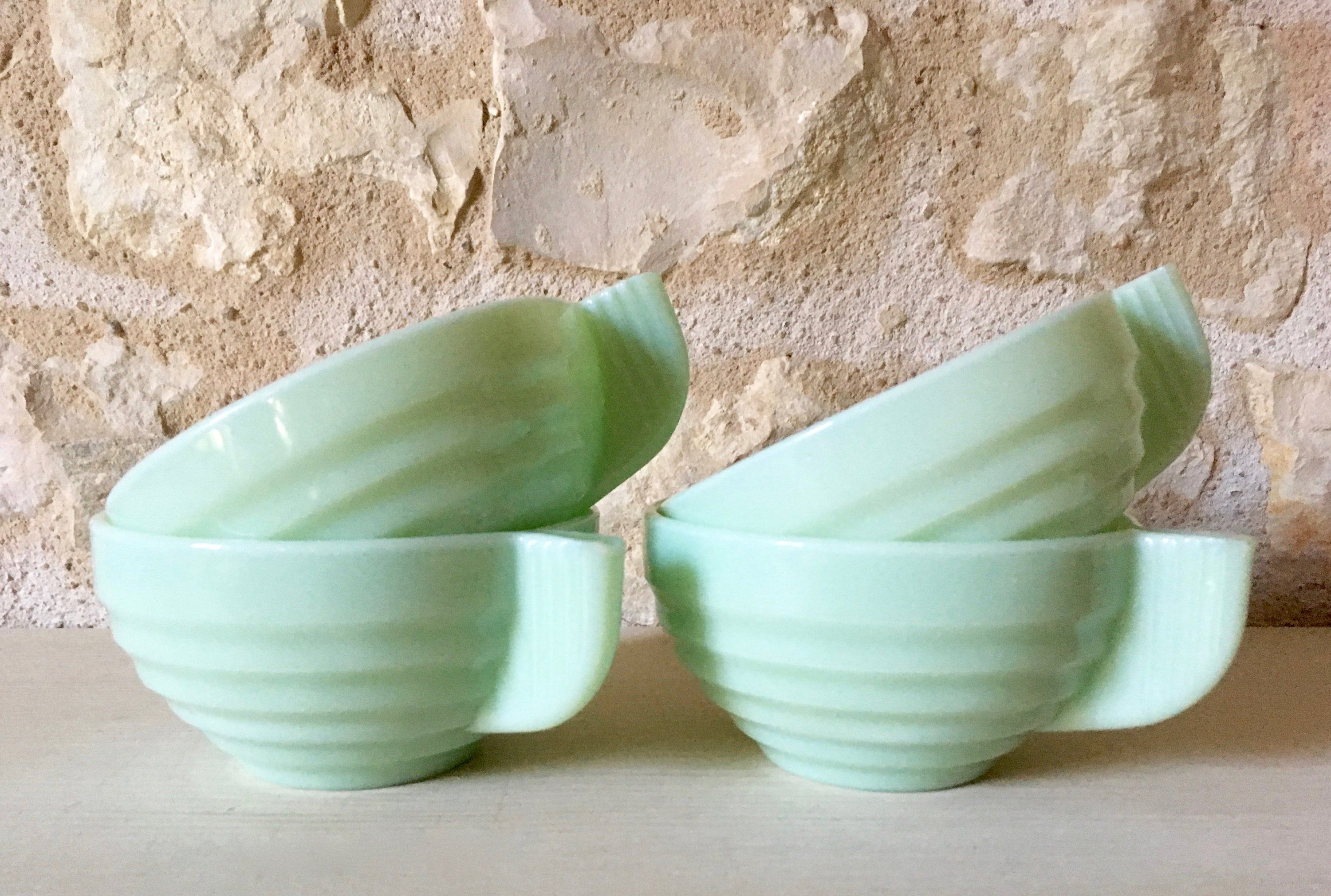 Cups Opaline Style Deco Green Coffee French Art 6gYv7bfIy
