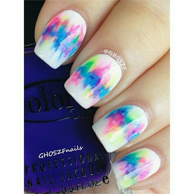 Water color white nails