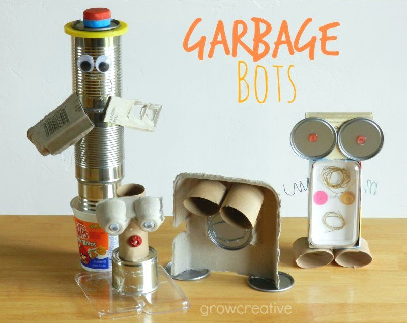 Garbage robots made from recyclable materials kids for Creative recycling ideas for kids