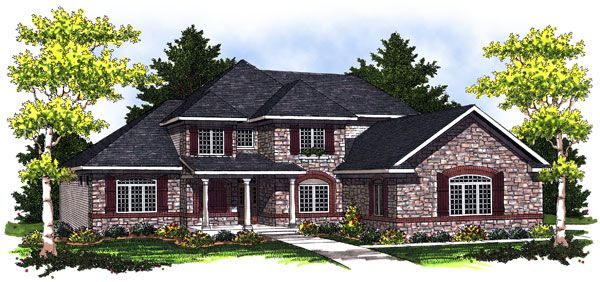 Elevation of European   Traditional   House Plan 73024