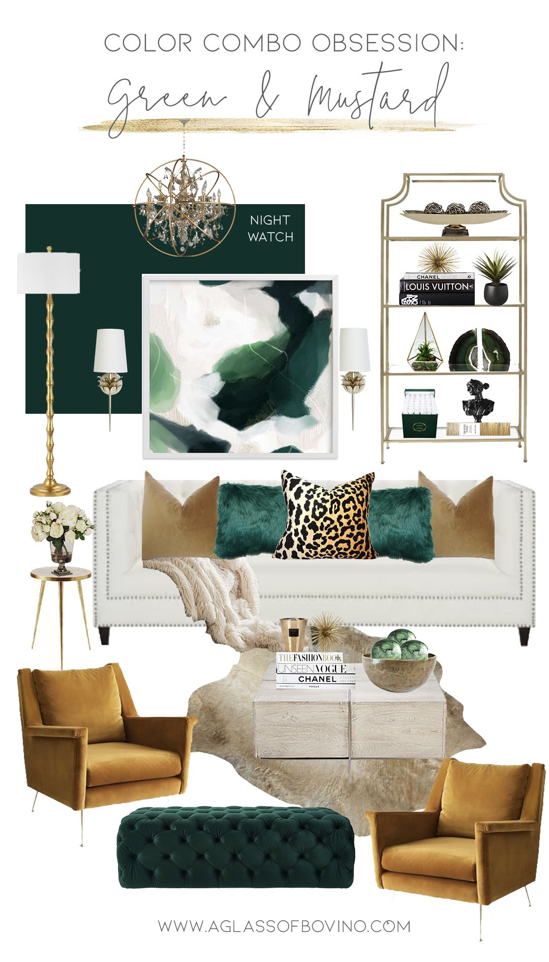 Color Combo Obsession Designing With Green And Mustard Green Living Room Decor Gold Living Room Glam Living Room