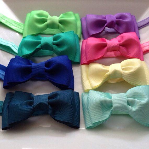 Eight Grosgrain Ribbon Hair Bows Headband / Hair Clip, Baby Girl Hair Bows Headband, Girls Hair Bow Headband / Hair Clip on Etsy