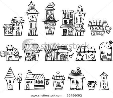 Cartoon Vector Fairy Tale Drawing Houses Series Separate Lodge Cartoon Drawings House Drawing Fairytale Drawings