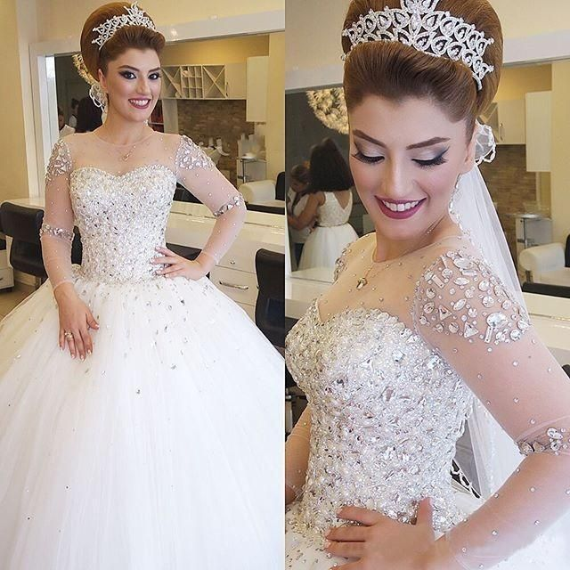 2016 Luxury Illusion Long Sleeves Ball Gown Wedding Dresses