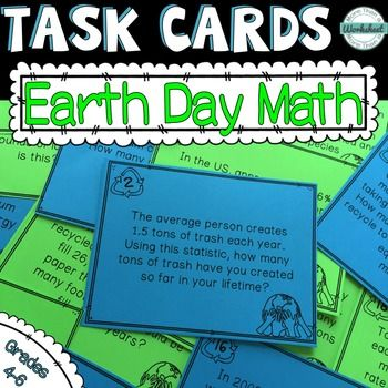 Earth Day Math Task Cards | Math task cards, Math skills and Word ...