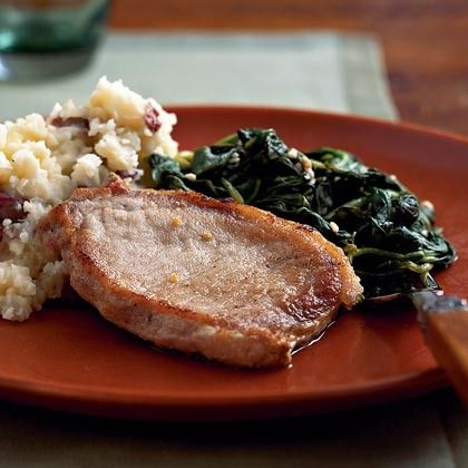 Pork Chops with Lemon Spinach by Cooking Light