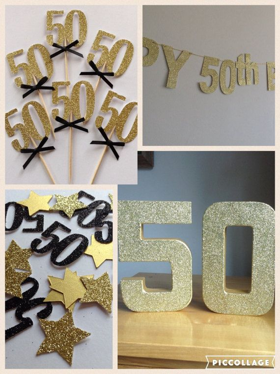 50th Birthday Party Package Black And Gold Decorations