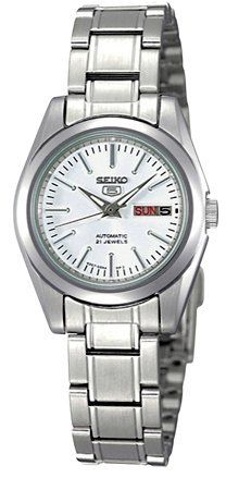 Seiko 5 #SYMK13K1 Women's Self Winding Automatic Watch Seiko. $82.99. Stainless Steel Case and Band with Push Button Deployment Clasp. Hardlex Crystal, Day/Date Display with Spanish Option, Luminous Hands and Markers. Water Resistant - 30M, Screwed Down Caseback. Japan 21 Jewels Automatic Movement by Seiko (Calibre 4207. Case Size:  25.5mm Diameter, 10mm Thickness. Save 57% Off!