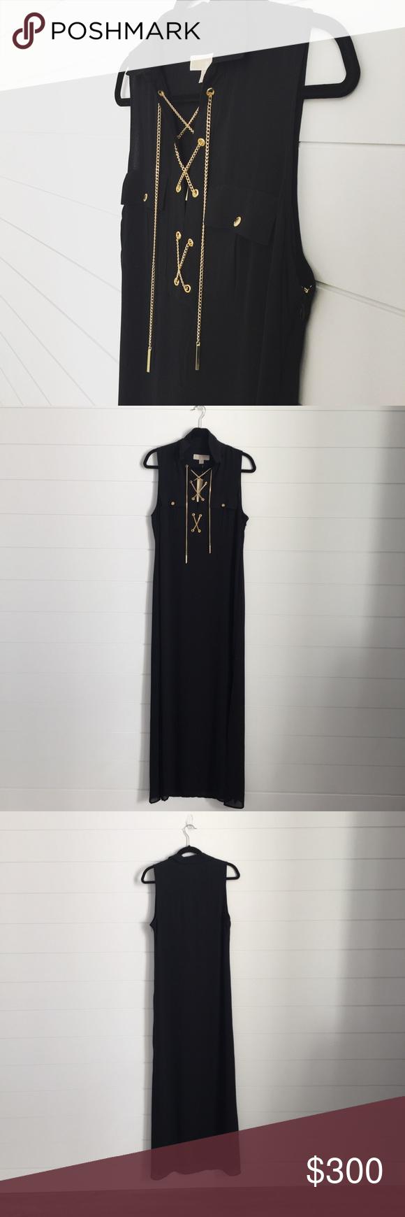 Limited Michael Kors Maxi Dress Gold Chain Lace Up Black Maxi Dress Gold Dress Michael Kors Dresses [ 1740 x 580 Pixel ]