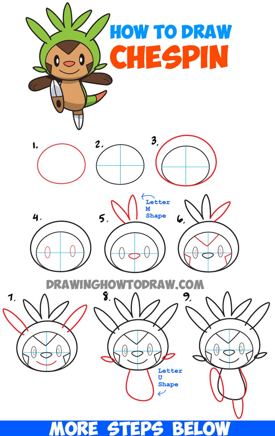 How to draw chespin from pokemon easy step by step drawing for How to draw things step by step
