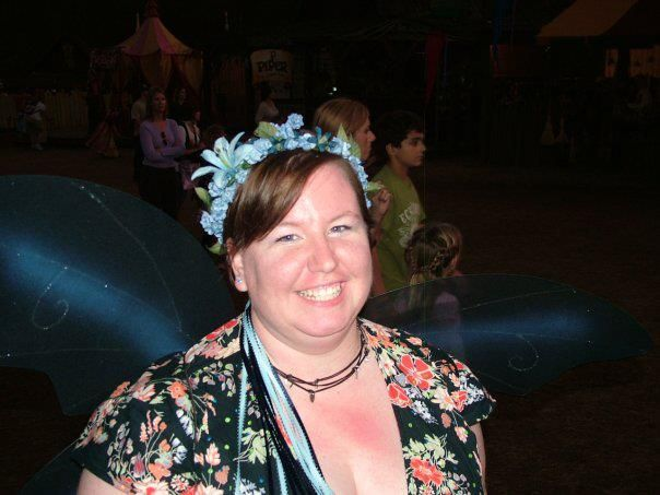 Blue flowered headband