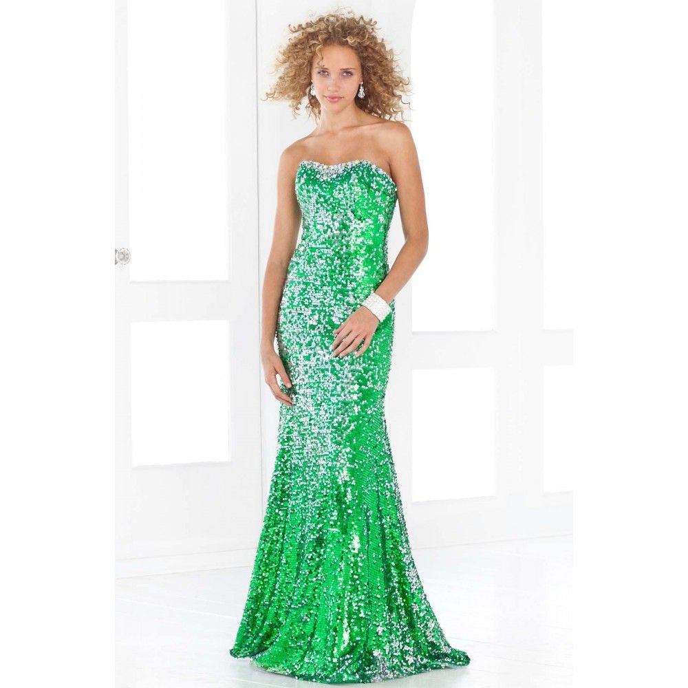 Mermaid gown strapless sequin zipper back green long prom dress ...