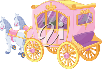 Royalty Free Clipart Image of a Princess's Carriage With Horses
