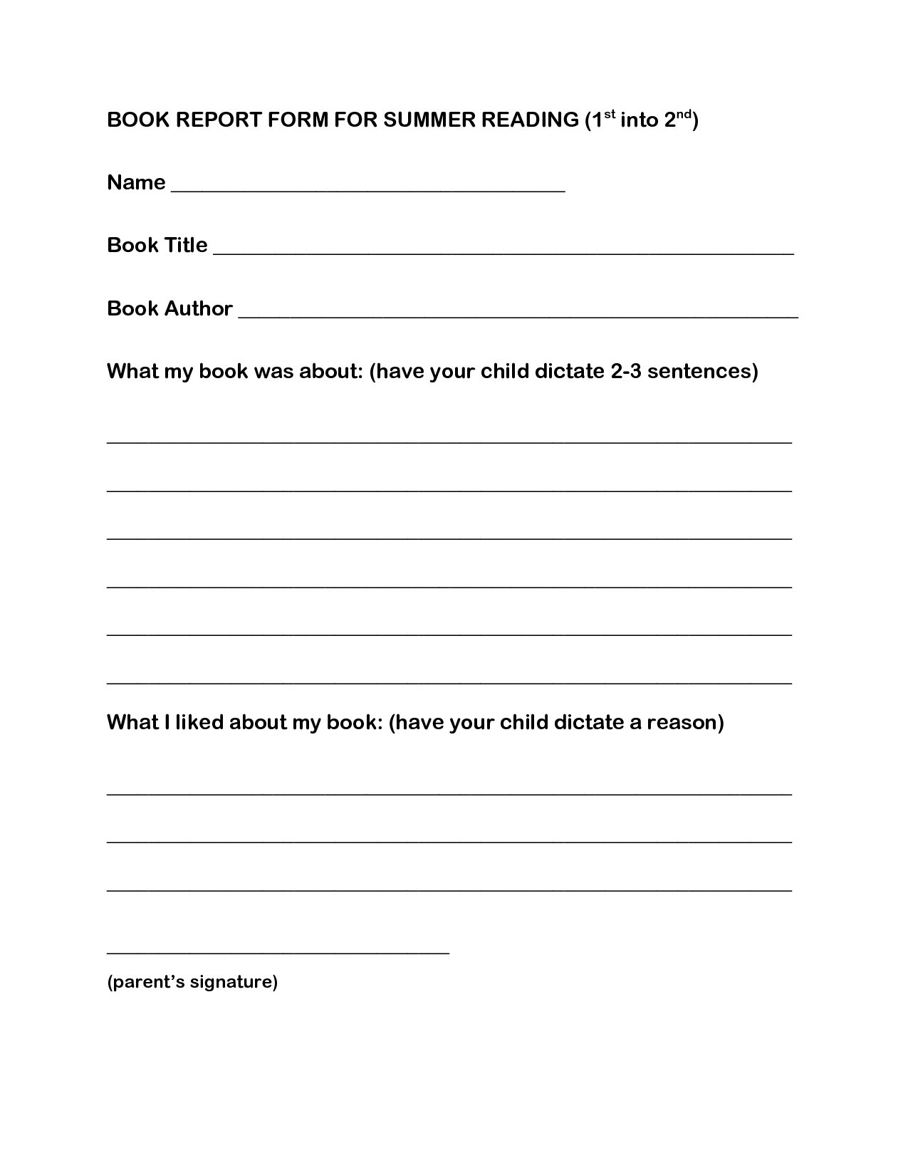 1st Grade Reading Log Forms