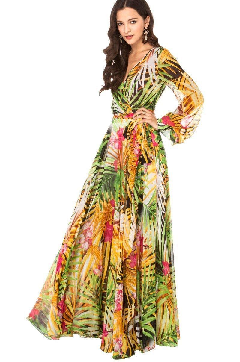 Bedrucktes Böhmisches Laternen Ärmel Kleid  Blumenkleid lang
