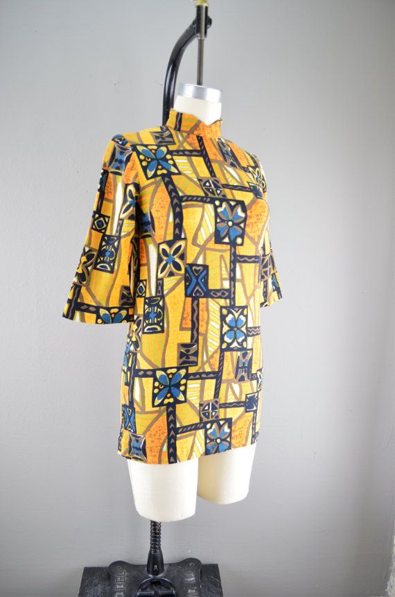 Funky late 60s barkcloth mini dress size small Micro by melsvanity, $48.00