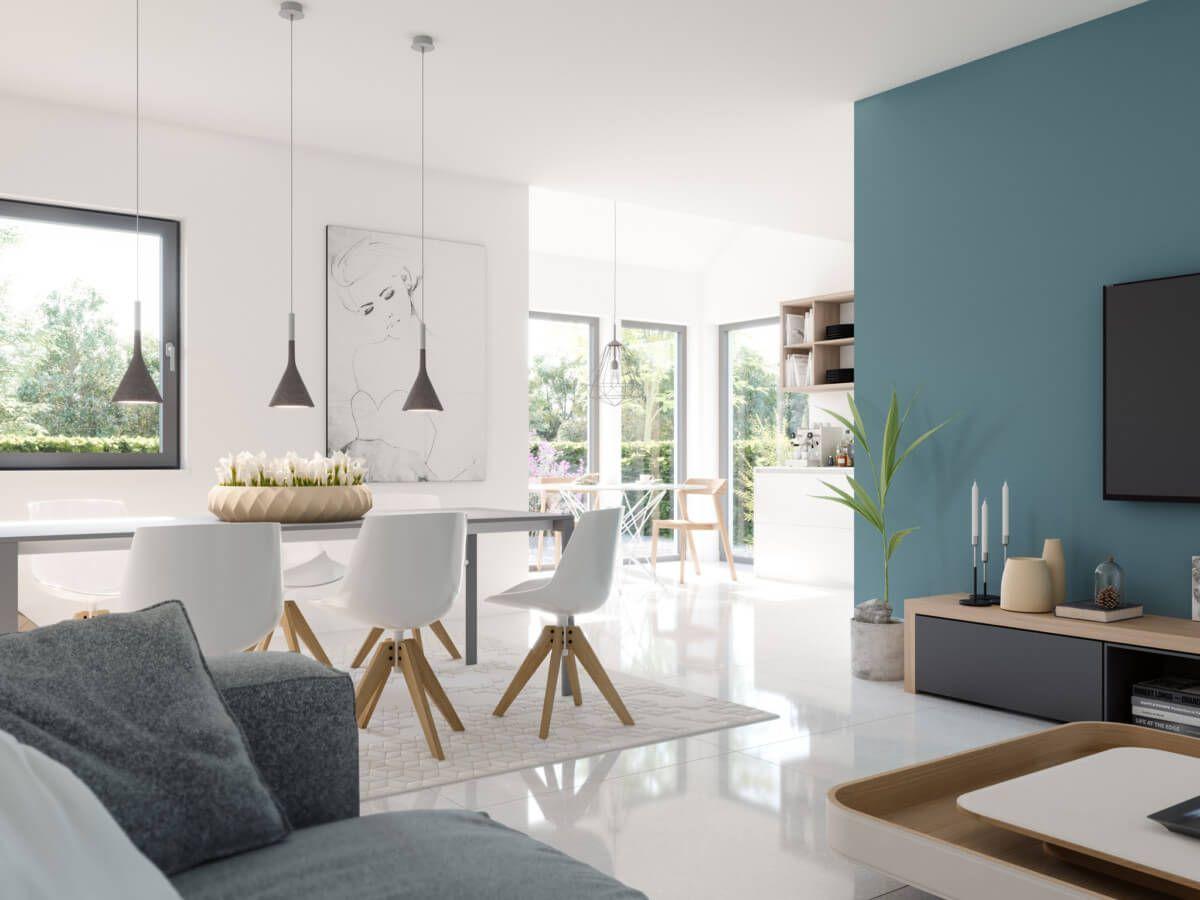Wohnzimmer modern offen mit Esstisch & Wintergarten Erker