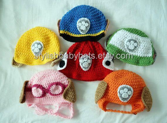 3x PAW Patrol Hats, Crochet Baby Hat, Dog Hat, photo prop, Inspired ...