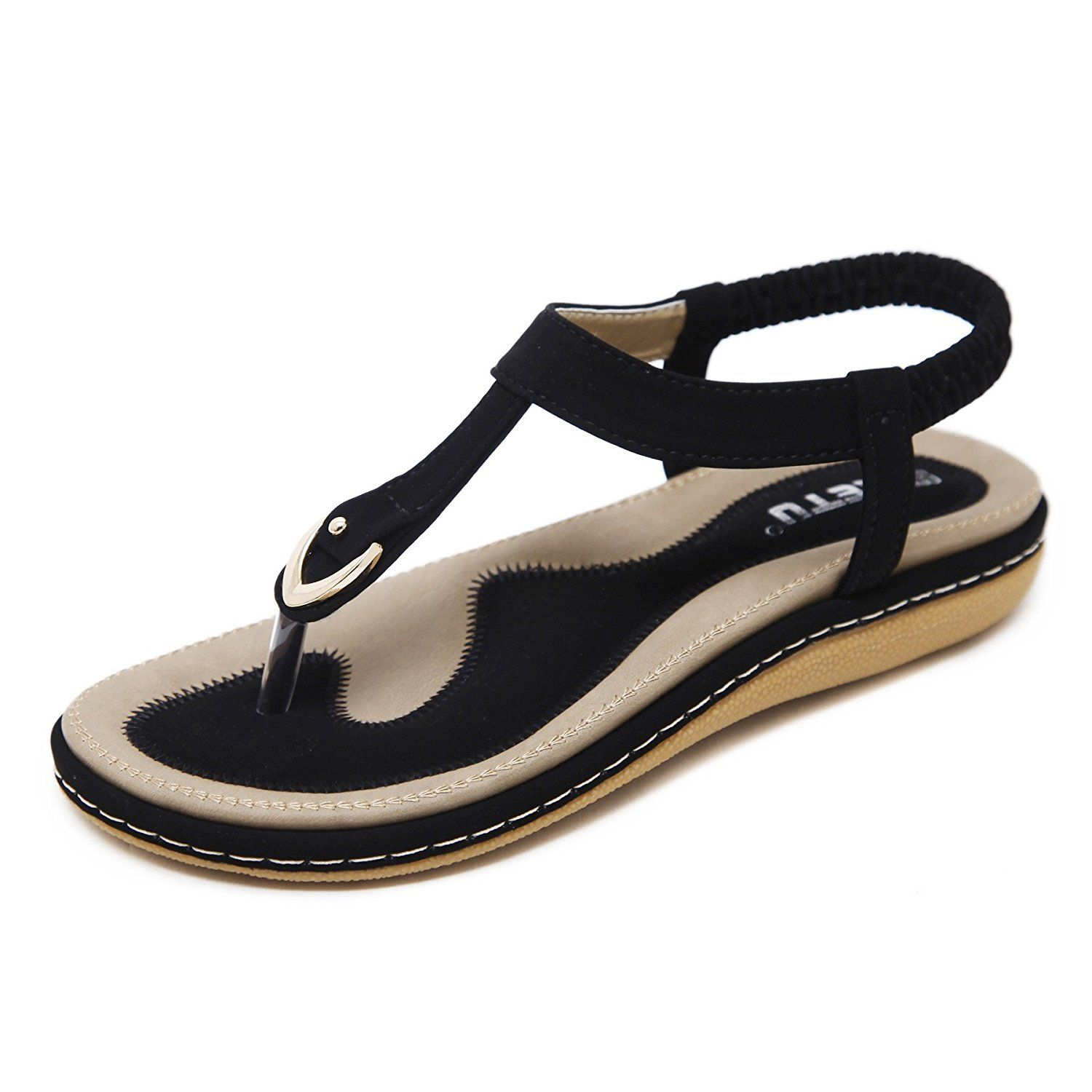 0fd6bb4acc5 Meeshine Women s Bohemia Flip Flops Summer Beach T-Strap Flat Sandals  Comfort Walking Shoes     Thanks a lot for visiting our picture.