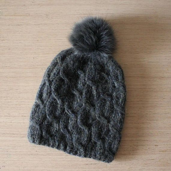 b31734480aa Fur pom pom hat Chunky knit hat Alpaca hat Fur bobble hat