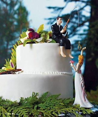 面白いウェディングケーキトッパー(花嫁フィッシング