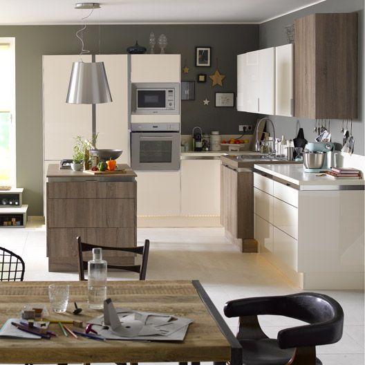 meuble de cuisine beige delinia composition type perle cuisine pinterest cuisine ouverte. Black Bedroom Furniture Sets. Home Design Ideas