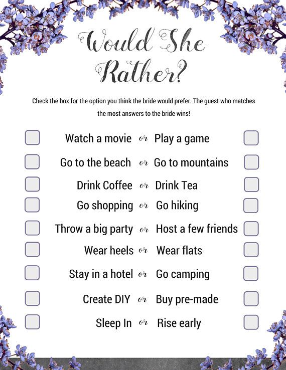 bridal shower would you rather game slate theme bridal shower game to test guests knowledge of the bride or get to know her better
