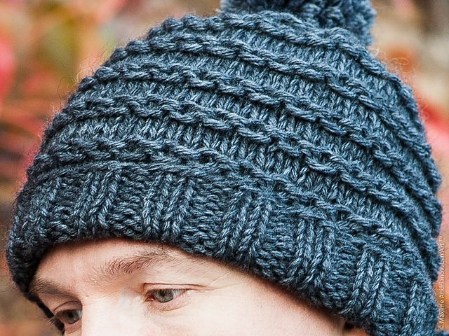 tuto tricot debutants bonnet homme motif chainette