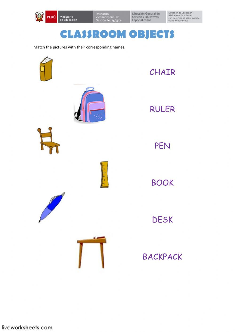 medium resolution of Classroom objects interactive and downloadable worksheet. You can do the  exercises online or download …   Classroom