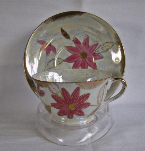 Vtg Mid Century Nasco Delcoronado Lustreware Pink Daisy Floral Teacup & Saucer