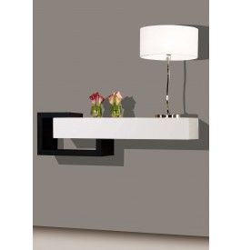 2443 console design laque blanc et noir brillants 1 for Meuble a suspendre pour salon