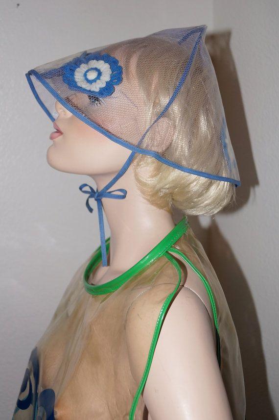 60s Mod Clear Vinyl Rain Hat Bonnet   1960s Clear Plastic Futuristic Space  Age Rain Helmet e2de54d06858