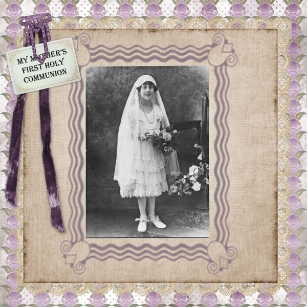 First Communion ~ Heritage digi page with the look of a vintage picture...love the framing!