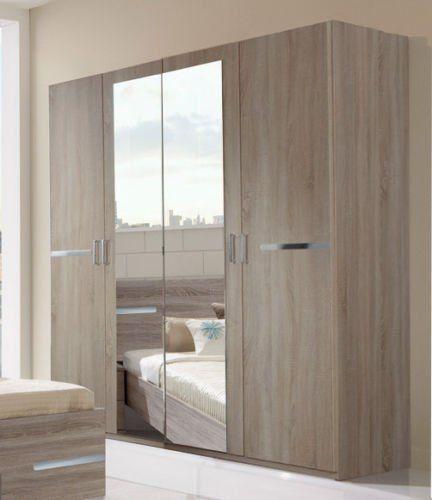 Germanica BAVARI Bedroom Furniture 4 Door Wardrobe in DARK OAK ...