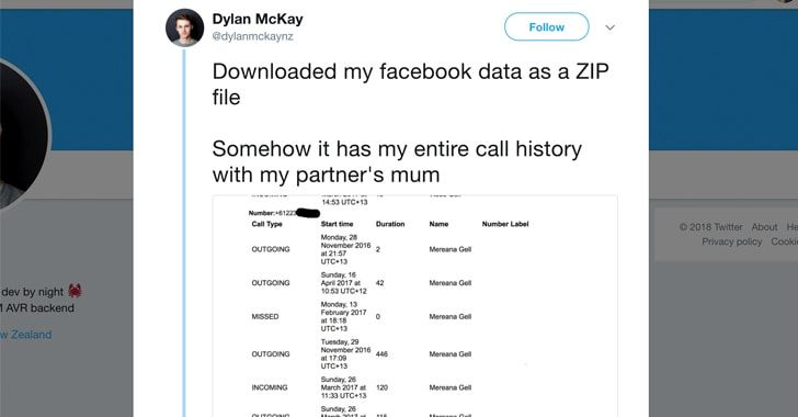 Facebook messenger collected android call history and sms
