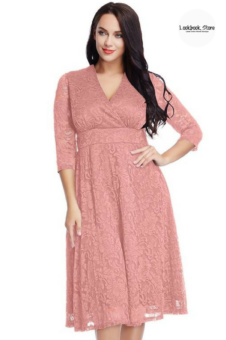 2a907f8d36e Let s Celebrate    Let your inner beauty bloom when you slip into this  beautiful plus size old rose surplice midi dress on your next event.