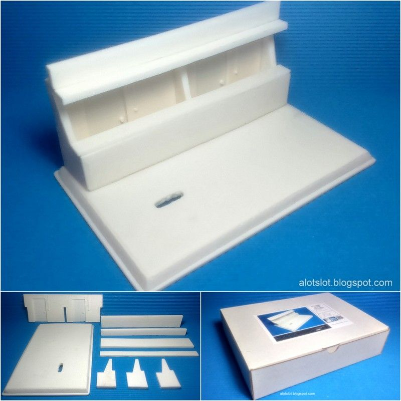 """Kit Diorama """"Le Mans Box Classic"""" 1/32 scale.  9 piezas de resina para montar y pintar  9 resin pieces to assembly and paint #kit #diorama #resin #resina #parking #diy #forsale #enventa #miniature #toy #slot #scalextric #132scale #toy #juguete #base #shipping #order #montar #pintar #assembly #paint"""