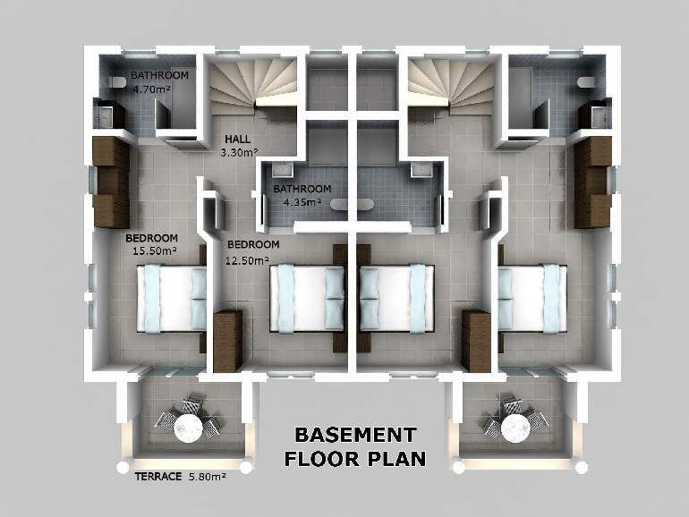 basement floor plans center stairs | southern living house plans