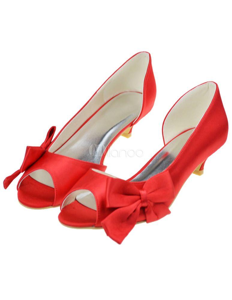Chaussure de mariée en satin rouge à petit talon et peep-toe avec noeud -  Milanoo.com 17408d152e5d