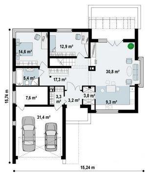 Plano De Casa De 15 X 15 M Cocinas Blancas Pinterest