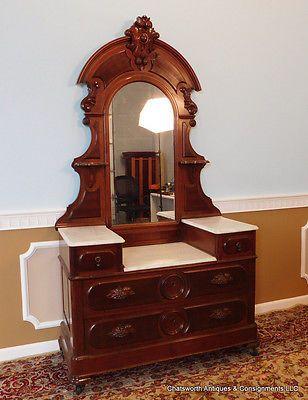 Restored Antique American Victorian Walnut Marble Top Dressing