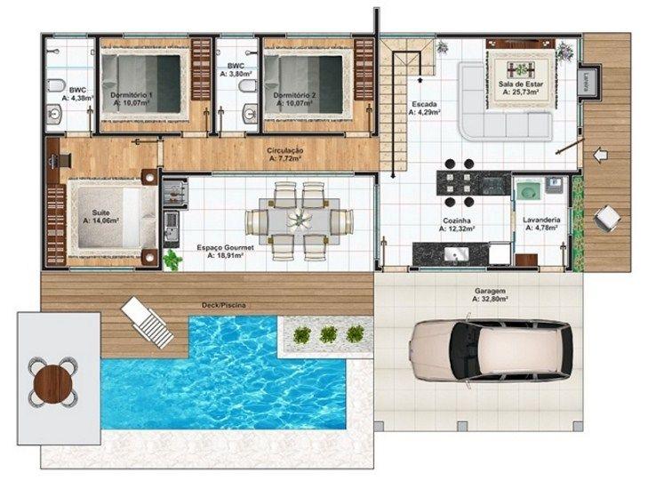 Plano de casas de 2 pisos con pileta   rolling   Pinterest   Planos ...