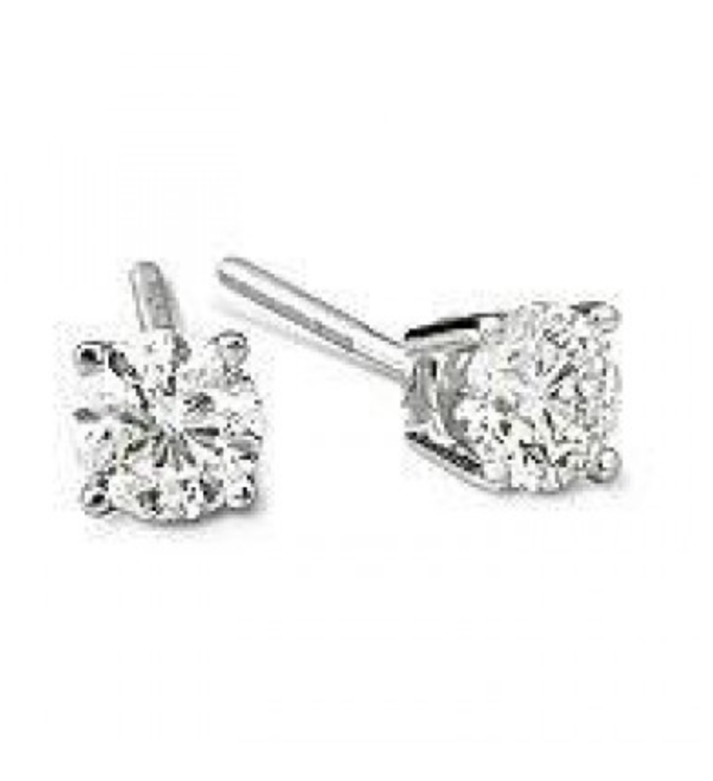 4 19 Ct Clarity Enhanced Earrings In 2020 Diamond Earrings Studs Round White Gold Jewelry Unique Diamond Earrings