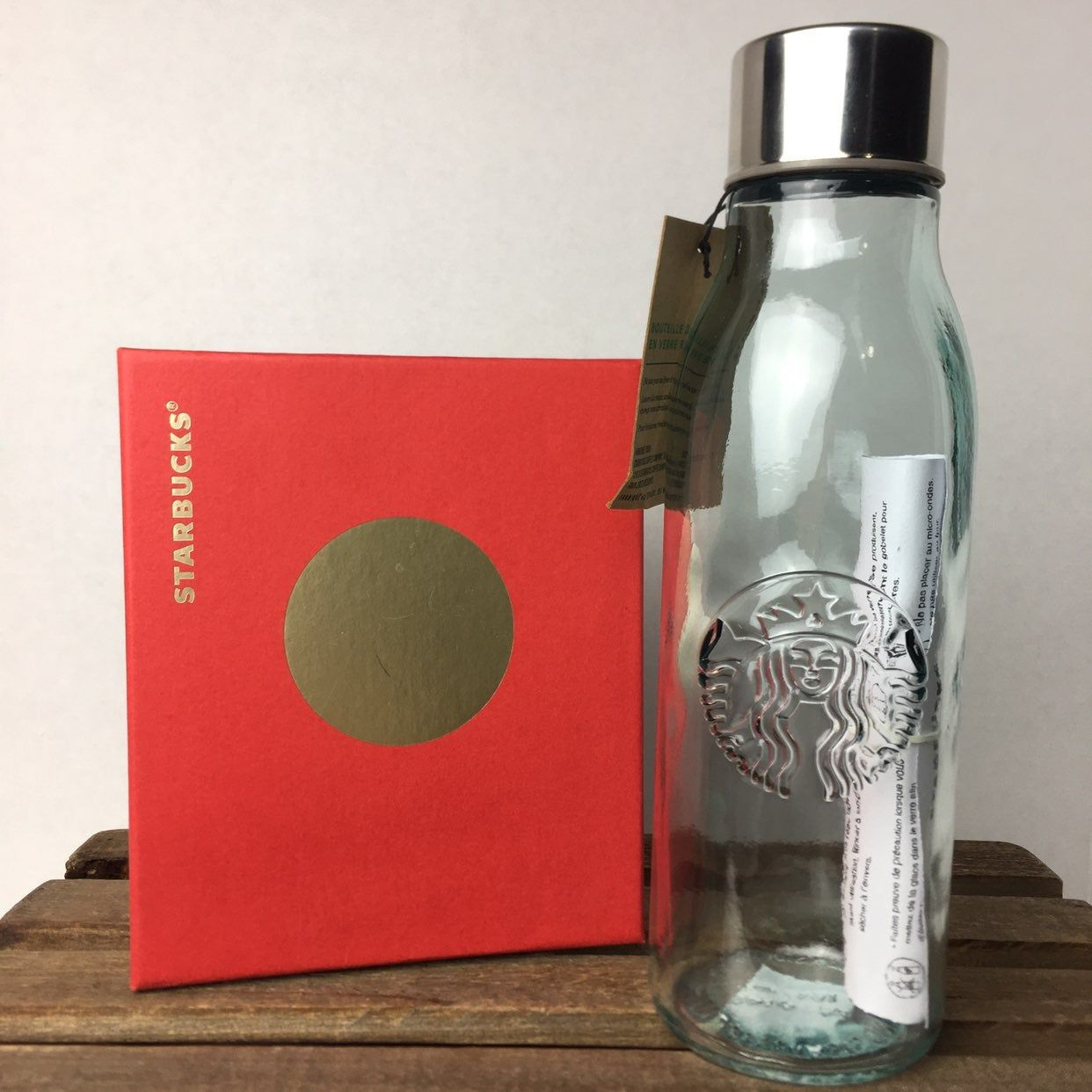 Free Shipping Made In Spain Starbucks 20oz Recycled Glass Water Bottle *NEW*