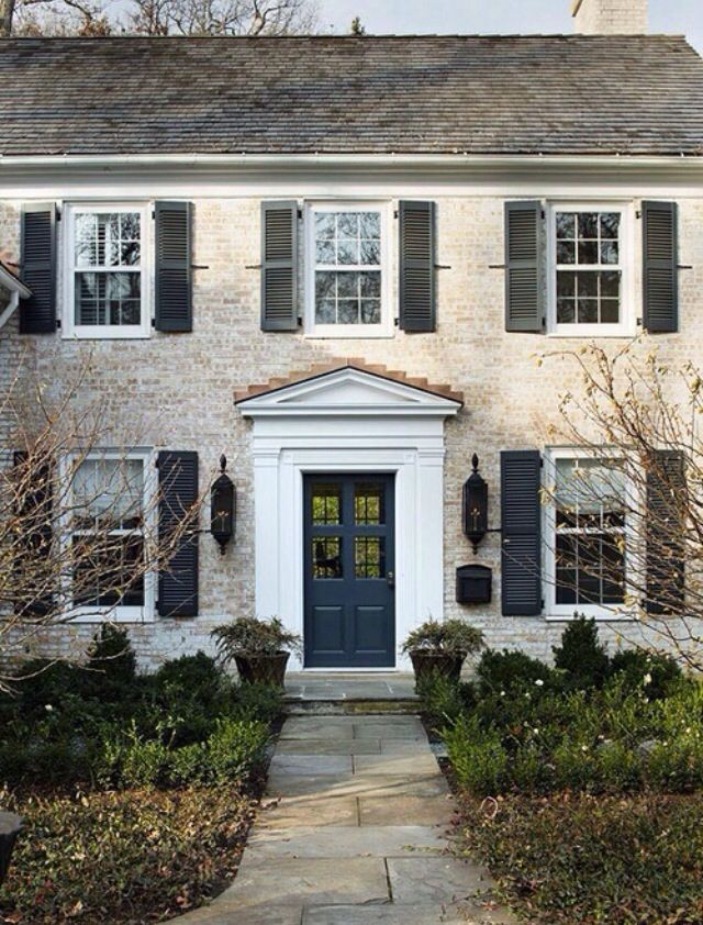 Whitewashed Brick Exterior Colonial Exterior Facade House Exterior Brick