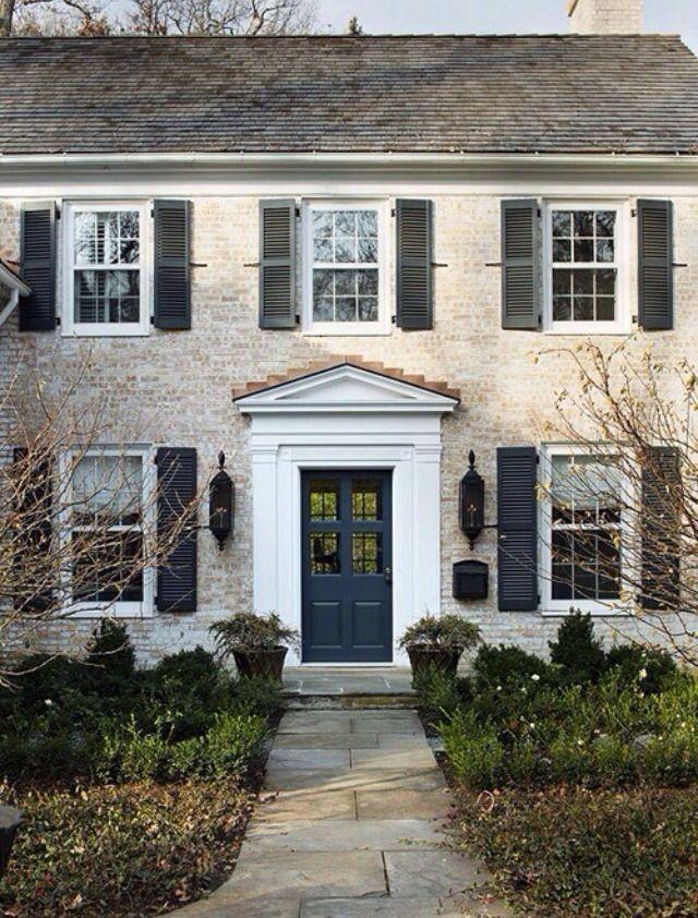 Whitewashed Brick Exterior Facade House House Exterior