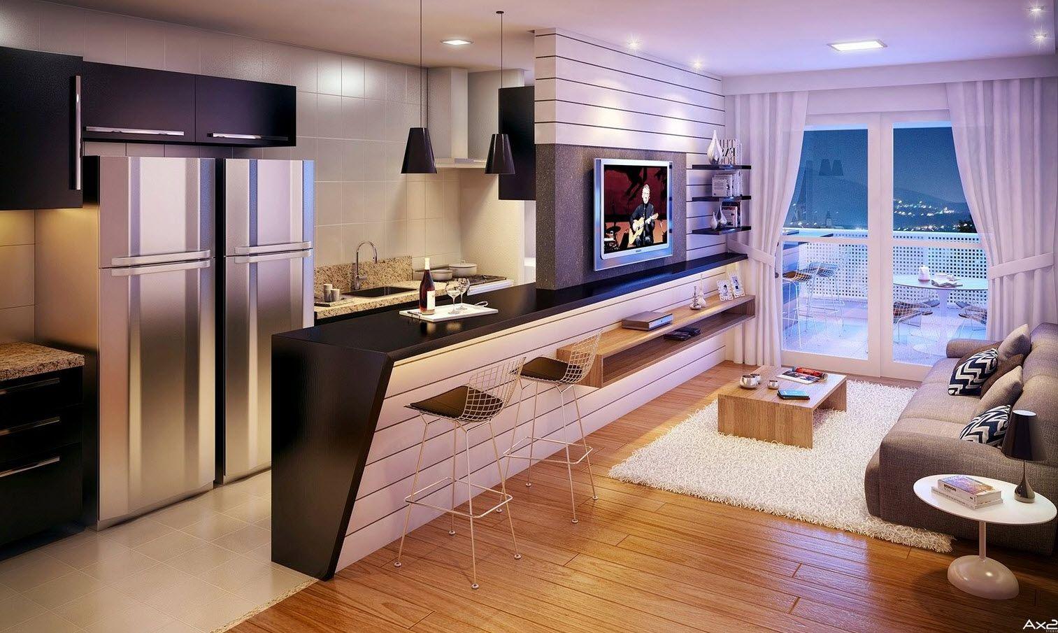 Resultado de imagen para sala comedor cocina solo ambiente pequeño ...